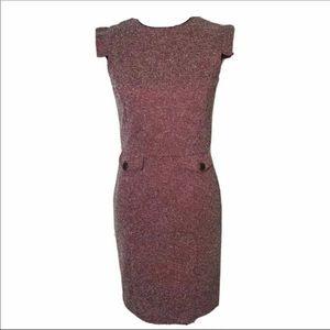 MNG By Mango Red Sheath Career Work Tweed Dress S